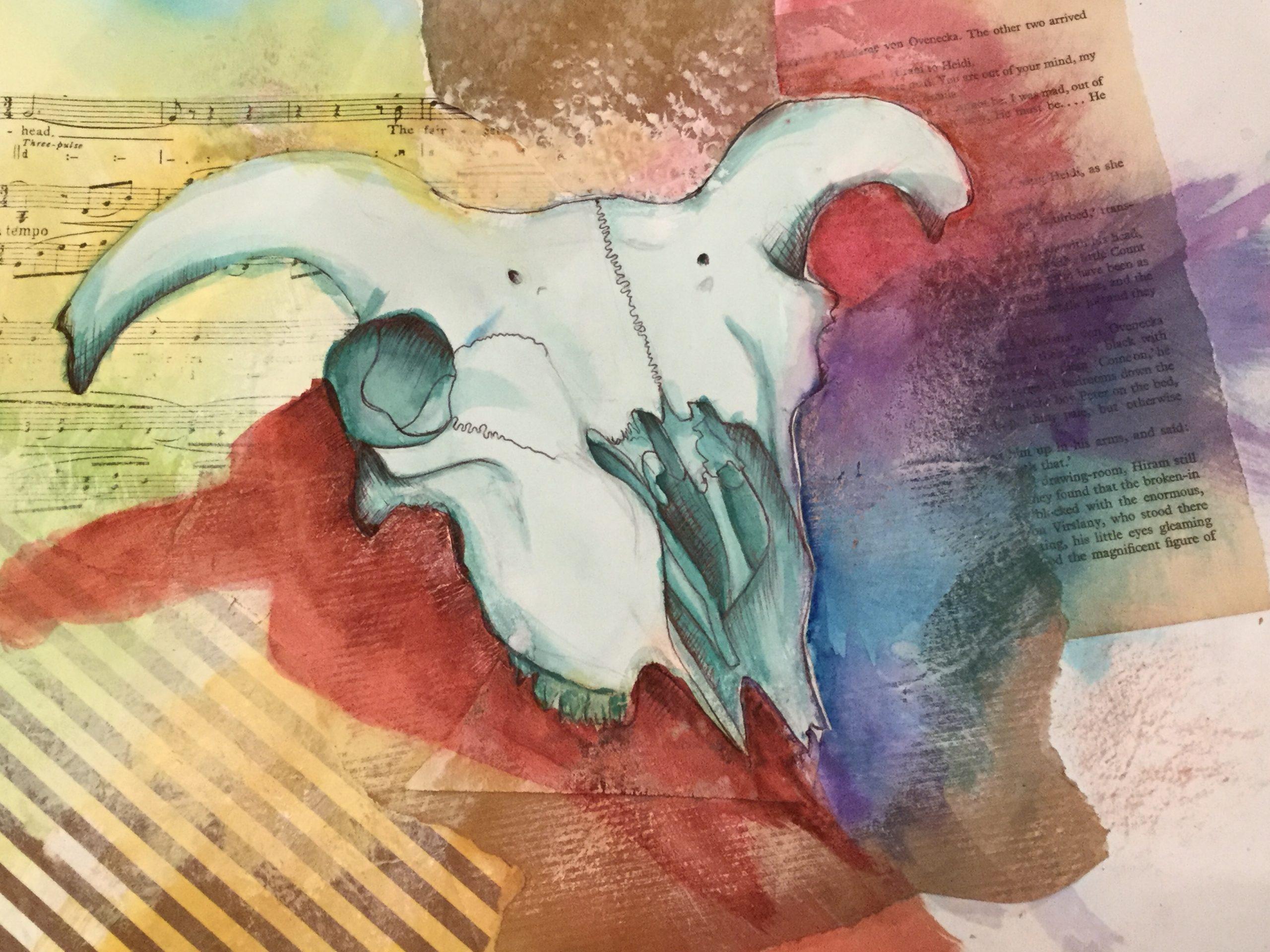 Mixed media sheep's skull drawing