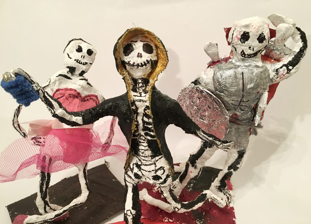 Mod roc Day of the Dead skeleton sculptures