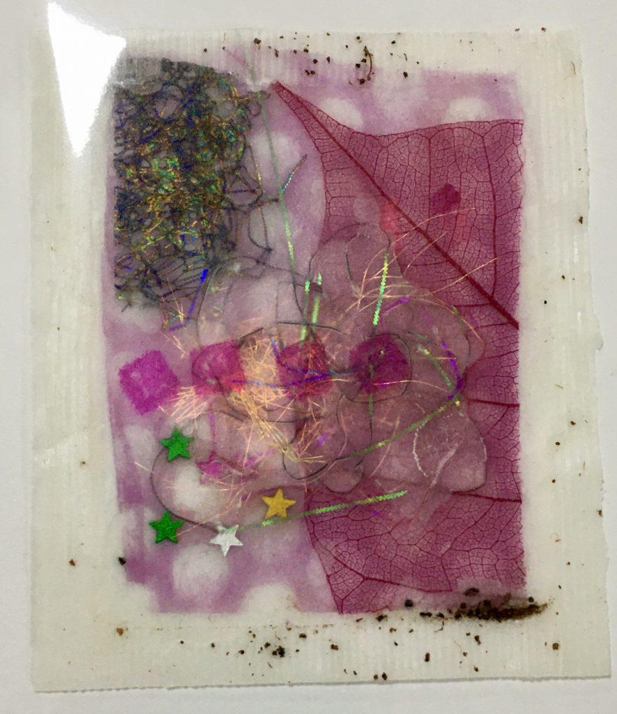 Wax entrapment tea bag art