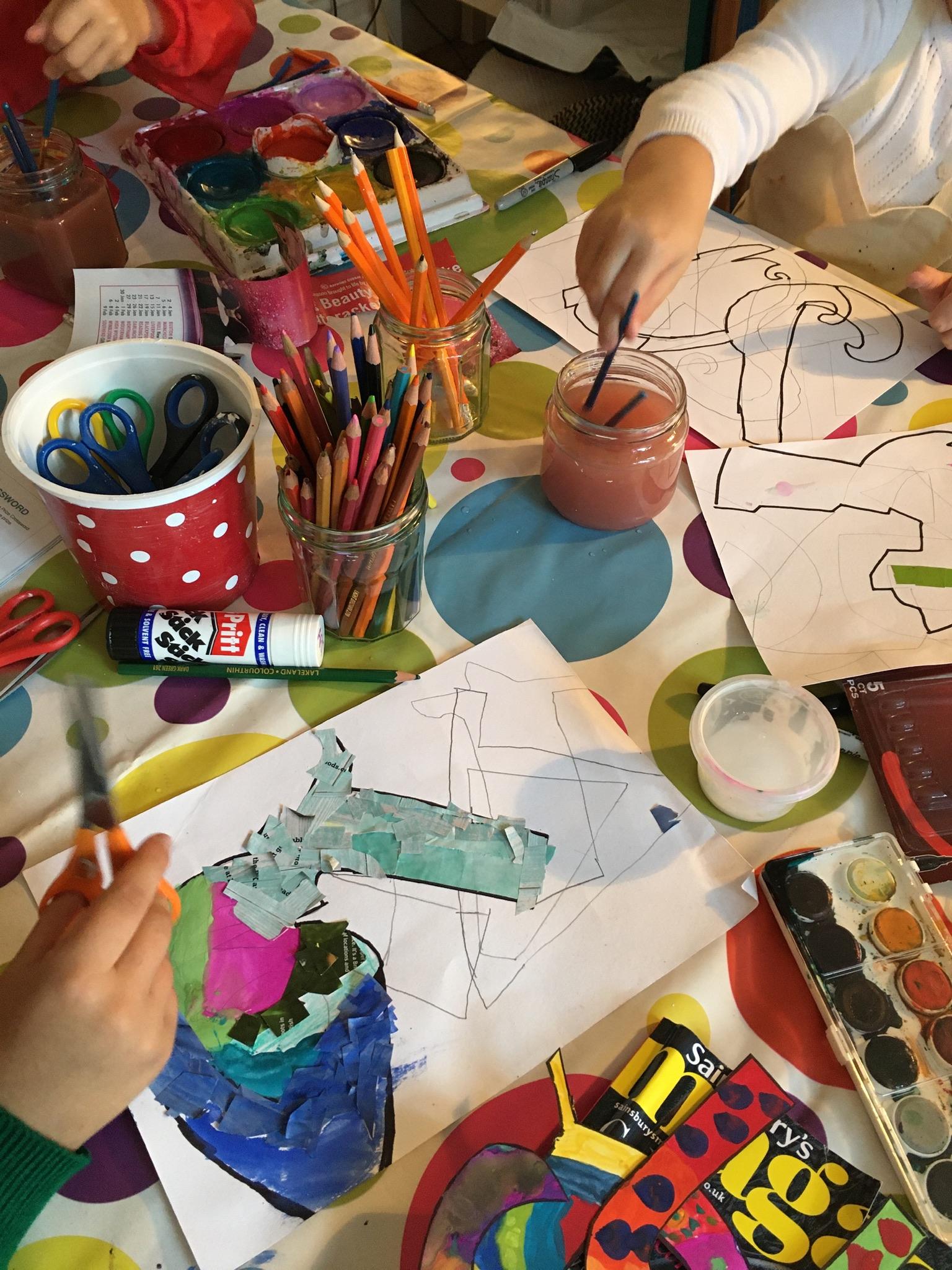 Children creating art