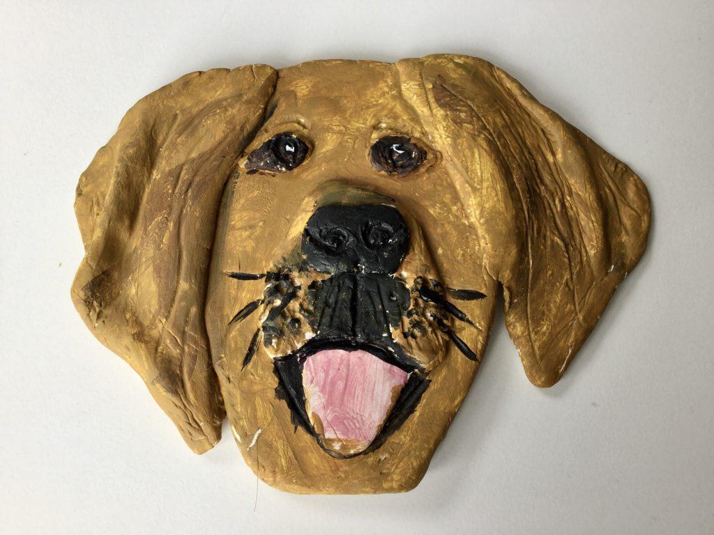 Air-dry clay animal sculpture